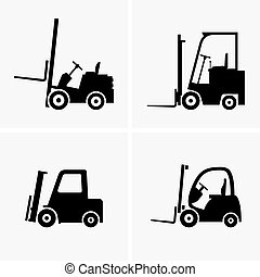 Forklifts - Set of four forklifts shade pictures