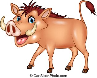 Cartoon warthog isolated - Vector illustration of Cartoon...