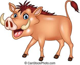 Cartoon warthog isolated - Vector illustration of Cartoon...