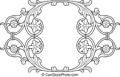 drawing stylized flowers medaillon - Vector illustration of...