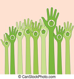 Green hands in the air with apple