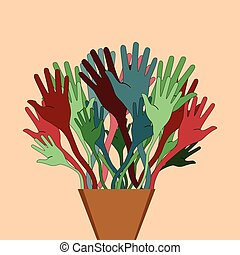 Flowerpot with hands in different c