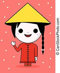 Kawaii chinese girl - Cute chinese girl with red dress and...