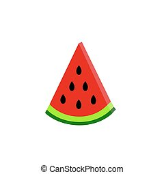 water-melon on white background. vector. flat - part of...