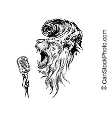 Vector hand drawn realistic lion - Vector hand drawn...