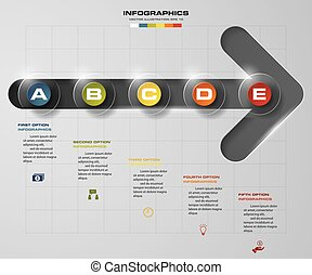 5 steps order on progress arrow template. Design clean...