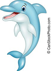 Cartoon funny dolphin jumping - Vector illustration of...