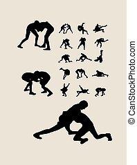 Wrestling Silhouettes - Wrestling Silhouettes, art vector...