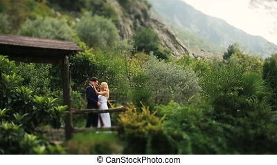 Happy wedding couple kissing in the wooden alcove on woods of Montenegro, Budva