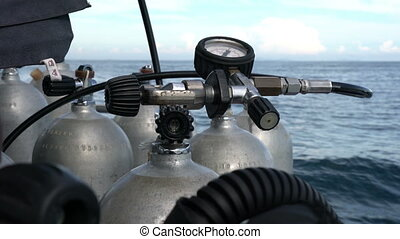 View of oxygen tanks for scuba diving, close-up - Sea trip...