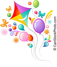Kite and balloons - Colourful background with kite and...