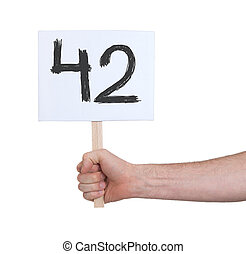 Sign with a number, 42 - Sign with a number, isolated on...