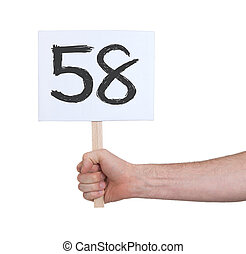 Sign with a number, 58 - Sign with a number, isolated on...