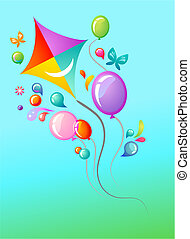 Kite and balloons - Sky-blue background with kite and...