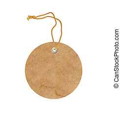 round cardboard blank tag label with string isolated on...