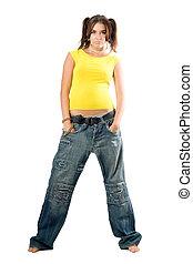 rapper girl in wide jeans