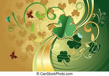 St Patricks Day Design - Decorative gold and green design...