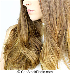 detail of healthy blond long  wavy hair