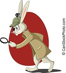 Detective Rabbit with Magnifying Glass Vector Cartooneps -...