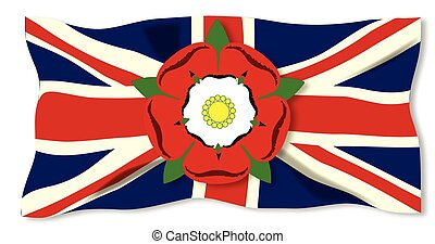 Union Jack With English Rose - The insignia of Lancaster and...