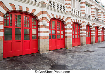 Brick firestation doors - Unique historical firestation...