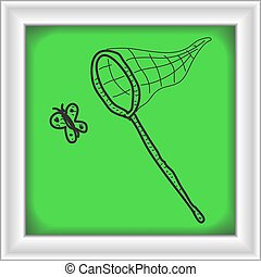 Simple doodle of a butterfly net - Simple hand drawn doodle...