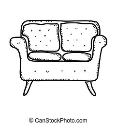 Simple doodle of a sofa - Simple hand drawn doodle of a sofa