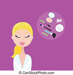 Woman with cosmetic accessories - Fashion accesories -...