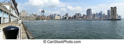 Manhattan docks panorama photo, summer day...