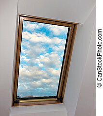 sky, clouds, roof window, roof apartment with view into the...