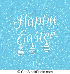 happy easter background - easter blue background with sign...