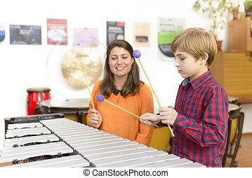 estudar, criança, percussão, instrumento