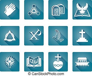 Christian Religious Icons - A set of Christian religious...