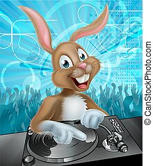 Easter Bunny DJ Party - Cartoon Easter bunny DJ mixing at...