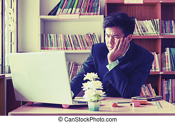 business, office, school and education concept - stressed...