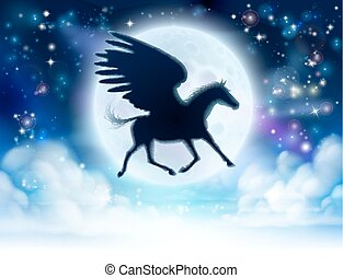 Pegasus flying moon silhouette - Pegasus the mythological...