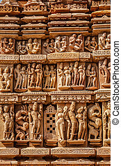 Sculptures on Khajuraho temples - Stone carving bas relief...