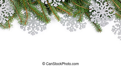 Christmas frame - Border of fir branches and silver...