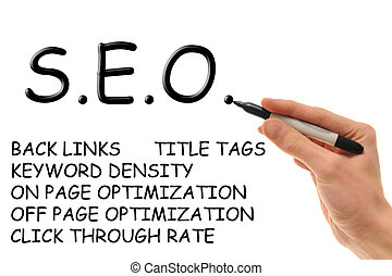 Search Engine Optimization - Hand holding a marker writing...