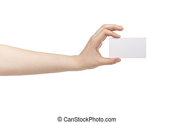 young female hand hold blank white paper card, isolated on...