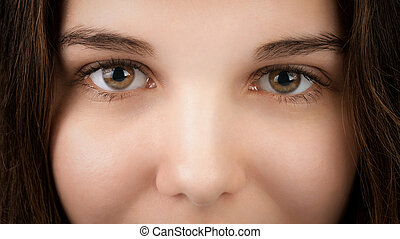 closeup portrait of young woman with hazel eyes, focus on...