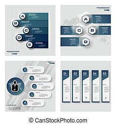 Collection of 4 blue color template/graphic or website...