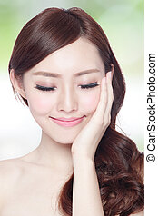 Beauty woman charming smile and relax closed eye enjoy with...