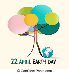 Earth Day - 22 April Illustration with Colorful Retro Paper...
