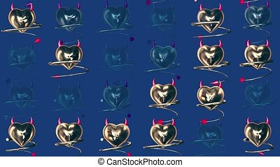 Golden devils hearts with horns and tail on blue