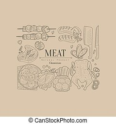 Meat, Vector Illustration Banner