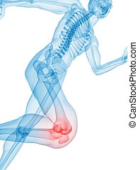 painful knee - 3d rendered x-ray illustration of a running...