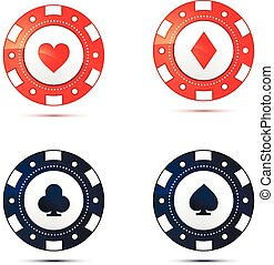 Casino chips with card suits symbols on white