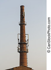 Base transceiver station on the old brick chimney