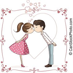 Couple Kissing Vector Cartoon.eps - Vector illustration of a...